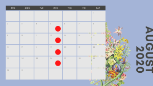 Multicoloured Pastel Flowers Simple Calendar